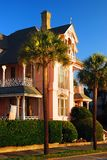A stately Antebellum Home. Lines the waterfront in Charleston, South Carolina stock image