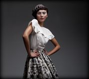 Stately Fascinating Woman In Classic Elegant Blouse And Skirt. Aristocracy Royalty Free Stock Images
