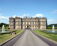 Stately Home. A Stately Home in Wiltshire, UK, looking up the driveway Stock Photos