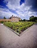 Stately home. Hanbury,hall,stately,home,mansion,country,house,gardens,parterre,wealth,wealthy,power,aristocracy,nobility,royal,family,national,trust Stock Image