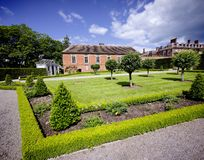 Stately home. Hanbury,hall,stately,home,mansion,country,house,gardens,parterre,wealth,wealthy,power,aristocracy,nobility,royal,family,national,trust Royalty Free Stock Image