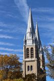 Church Spires Holy Rosary Cathedral Regina Saskatchewan. Stately spires of Holy Rosary Cathedral Regina Stock Images