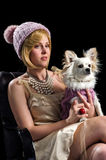 Stately women with puppy Royalty Free Stock Images