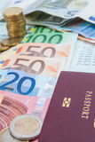 Statement of account with the money EURO. Royalty Free Stock Photography