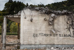 Statement on destroyed building in Germany Royalty Free Stock Image