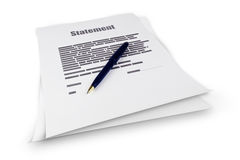 Statement document. Document with the text of the statement on a piece of paper on white background Stock Photos