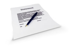Statement document Stock Image