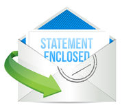 Statement enclosed envelope mail correspondence. Illustration design over white vector illustration