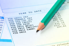 Statement of payroll details with a pencil. Financial accounting concept Royalty Free Stock Photography