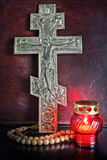 Statement on a religious Christian subject. Christian cross and church icon lamp Royalty Free Stock Photo