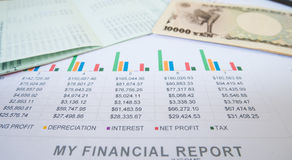 Free Statement Report With Money In Financial Concept. Royalty Free Stock Image - 94994116