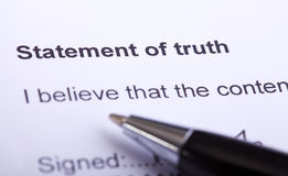 Statement of Truth Paperwork Royalty Free Stock Photography