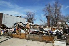 被毁坏的房子五个月在飓风桑迪以后在Staten岛, NY 库存照片