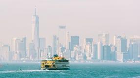 Staten Island Ferry and Lower Manhattan Skyline, New York, USA. Stock Photography