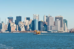 Staten Island Ferry with New York City Skyline Royalty Free Stock Images