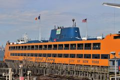 Staten Island Ferry. The Staten Island Ferry is a regular ferry service between Manhattan and Staten Island Stock Photo