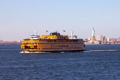 Staten Island Ferry and Statue of Liberty Stock Photography