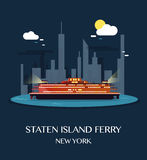 Staten Island Ferry.Vector Illustration. Staten Island Ferry.Vector Illustration Royalty Free Stock Images