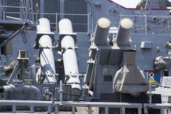 Harpoon cruise missile launchers on the deck of US Navy destroyer during Fleet Week 2012. STATEN ISLAND, NEW YORK - MAY 29:Harpoon cruise missile launchers on Stock Photo