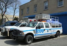 NYPD emergency service vehicles ready to help in Staten Island, NY Royalty Free Stock Photos