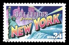 Stater av Amerika avbröt hälsningar för visning för portostämpel från New York cit Arkivfoto
