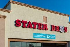 Stater Bros livsmedelsbutikyttersida och logo Royaltyfria Bilder