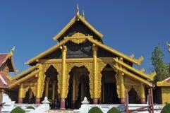 Stateroom of Myanmar king. Beautiful golden stateroom of Myanmar's king royalty free stock photography