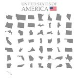 States of America territory on white background. Separate states. Vector illustration royalty free illustration