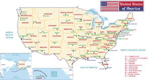 The United States of America. Beautiful modern graphic USA map. Royalty Free Stock Image
