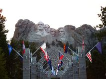 States Flags at the Mt.Rushmore National Memorial, South Dakota, USA royalty free stock images