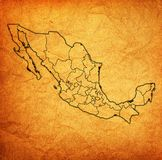 Vintage administration map of Mexico Stock Photography