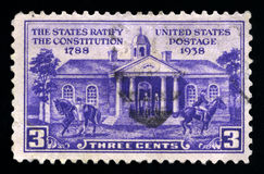 The States Ratify the Constitution US Postage Stamp Stock Photos