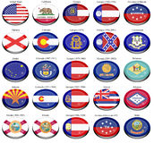 States and territories of USA flags Royalty Free Stock Photo