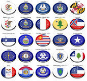 States and territories of USA flags Royalty Free Stock Images