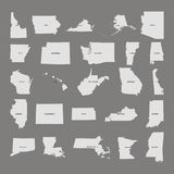 States of the United states. Grey background. Vector illustration. States of the United states. Grey background. Vector Stock Photos