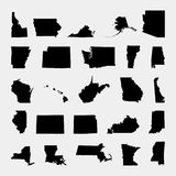 States of the United states. Gray background. Vector illustration. States of the United states Stock Photos