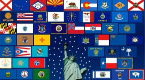 States of USA. Flags of all states of usa with Statue of Liberty Stock Photography