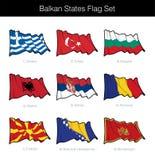 Stati del Balcani che ondeggiano l'insieme della bandiera illustrazione vettoriale