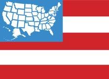 Stati della mappa 50 della bandiera di U.S.A. come stelle Fotografia Stock