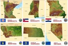 Stati di U.S.A. delle contee delle mappe Immagine Stock