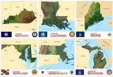 Stati di U.S.A. delle contee delle mappe Illustrazione di Stock
