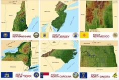 Stati di U.S.A. delle contee delle mappe Fotografia Stock Libera da Diritti