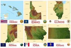 Stati di U.S.A. delle contee delle mappe Illustrazione Vettoriale