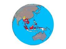Stati membri di ASEAN con le bandiere sul globo isolato illustrazione vettoriale