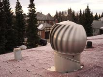 Static Air Vent on residential house roof stock video footage