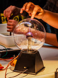 Static Electricity. Detail of a static sphere with a demonstration Stock Photography