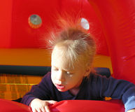 Static hair. A two year old boy with static hair standing up on his head Royalty Free Stock Photos