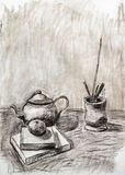 Static nature still life objects on table hand draw Royalty Free Stock Photos