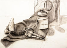 Static nature still-life vintage objects hand draw sketch Royalty Free Stock Photography