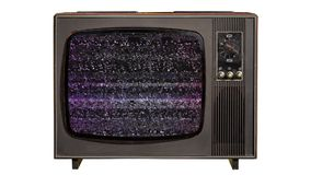 Static noise and green chroma key on a vintage old TV set isolated. Static noise and green chroma key at the end on a vintage old TV set isolated on white stock footage